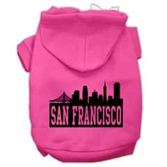 Mirage Pet Products San Francisco Skyline Screen Print Pet Hoodies Bright Pink Size Med (12)