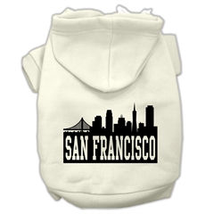 Mirage Pet Products San Francisco Skyline Screen Print Pet Hoodies Cream Size Lg (14)