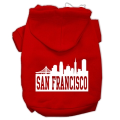 Mirage Pet Products San Francisco Skyline Screen Print Pet Hoodies Red Size Lg (14)
