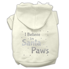 Mirage Pet Products Screenprint Santa Paws Pet Hoodies Cream Size XL (16)