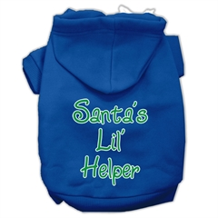 Mirage Pet Products Santa's Lil' Helper Screen Print Pet Hoodies Blue Size Med (12)