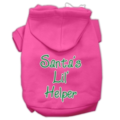 Mirage Pet Products Santa's Lil' Helper Screen Print Pet Hoodies Bright Pink Size Sm (10)
