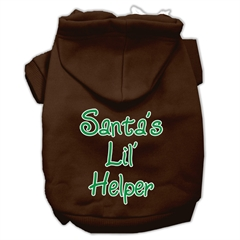 Mirage Pet Products Santa's Lil' Helper Screen Print Pet Hoodies Brown Size XS (8)