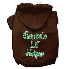 Mirage Pet Products Santa's Lil' Helper Screen Print Pet Hoodies Brown Size XXXL (20)