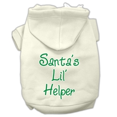 Mirage Pet Products Santa's Lil' Helper Screen Print Pet Hoodies Cream Size Sm (10)