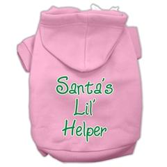 Mirage Pet Products Santa's Lil' Helper Screen Print Pet Hoodies Light Pink Size Sm (10)