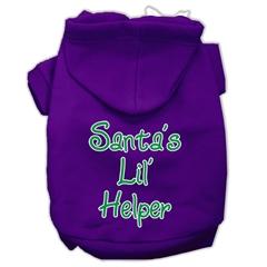 Mirage Pet Products Santa's Lil' Helper Screen Print Pet Hoodies Purple Size Sm (10)