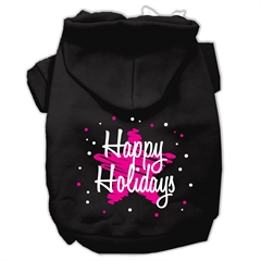 Mirage Pet Products Scribble Happy Holidays Screenprint Pet Hoodies Black Size L (14)