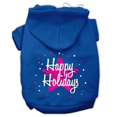 Mirage Pet Products Scribble Happy Holidays Screenprint Pet Hoodies Blue Size XL (16)