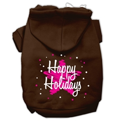 Mirage Pet Products Scribble Happy Holidays Screenprint Pet Hoodies Brown Size M (12)