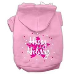 Mirage Pet Products Scribble Happy Holidays Screenprint Pet Hoodies Light Pink Size XS (8)