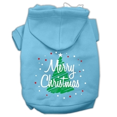 Mirage Pet Products Scribbled Merry Christmas Screenprint Pet Hoodies Baby Blue Size L (14)