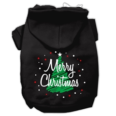 Mirage Pet Products Scribbled Merry Christmas Screenprint Pet Hoodies Black Size S (10)