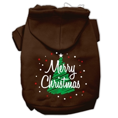 Mirage Pet Products Scribbled Merry Christmas Screenprint Pet Hoodies Brown Size XXXL (20)