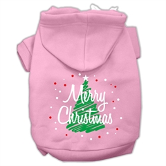 Mirage Pet Products Scribbled Merry Christmas Screenprint Pet Hoodies Light Pink Size XS (8)