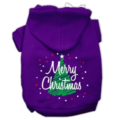 Mirage Pet Products Scribbled Merry Christmas Screenprint Pet Hoodies Purple Size L (14)