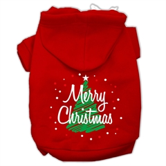 Mirage Pet Products Scribbled Merry Christmas Screenprint Pet Hoodies Red Size S (10)