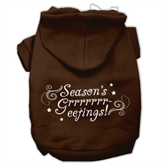 Mirage Pet Products Seasons Greetings Screen Print Pet Hoodies Brown Size XXXL(20)