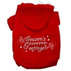 Mirage Pet Products Seasons Greetings Screen Print Pet Hoodies Red Size S (10)