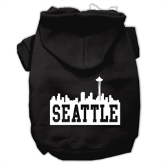 Mirage Pet Products Seattle Skyline Screen Print Pet Hoodies Black Size XS (8)