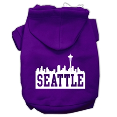 Mirage Pet Products Seattle Skyline Screen Print Pet Hoodies Purple Size Sm (10)