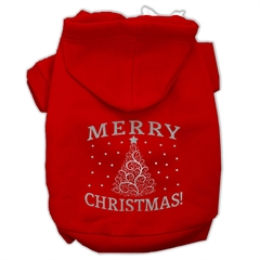Mirage Pet Products Shimmer Christmas Tree Pet Hoodies Red Size XS (8)