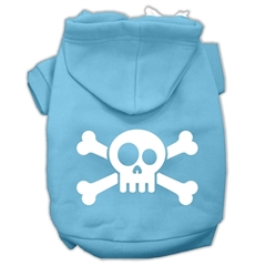 Mirage Pet Products Skull Crossbone Screen Print Pet Hoodies Baby Blue Size Sm (10)