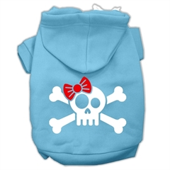Mirage Pet Products Skull Crossbone Bow Screen Print Pet Hoodies Baby Blue Size Lg (14)