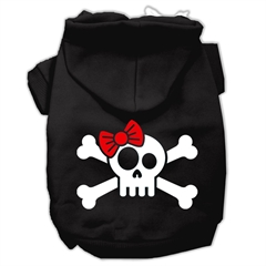 Mirage Pet Products Skull Crossbone Bow Screen Print Pet Hoodies Black Size XL (16)