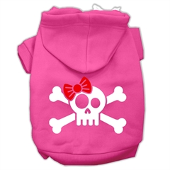 Mirage Pet Products Skull Crossbone Bow Screen Print Pet Hoodies Bright Pink Size XL (16)
