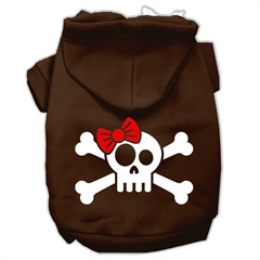 Mirage Pet Products Skull Crossbone Bow Screen Print Pet Hoodies Brown Size XL (16)