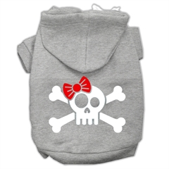 Mirage Pet Products Skull Crossbone Bow Screen Print Pet Hoodies Grey Size Lg (14)