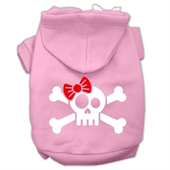 Mirage Pet Products Skull Crossbone Bow Screen Print Pet Hoodies Light Pink Size Sm (10)