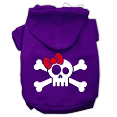 Mirage Pet Products Skull Crossbone Bow Screen Print Pet Hoodies Purple Size Sm (10)