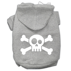 Mirage Pet Products Skull Crossbone Screen Print Pet Hoodies Grey Size Lg (14)