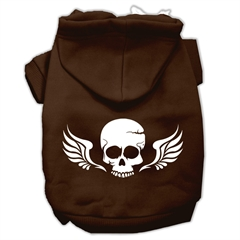 Mirage Pet Products Skull Wings Screen Print Pet Hoodies Brown Size Lg (14)