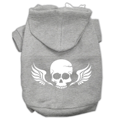 Mirage Pet Products Skull Wings Screen Print Pet Hoodies Grey Size Med (12)
