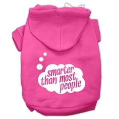 Mirage Pet Products Smarter then Most People Screen Printed Dog Pet Hoodies Bright Pink Size XS (8)