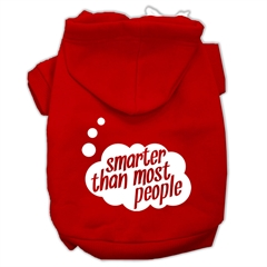 Mirage Pet Products Smarter then Most People Screen Printed Dog Pet Hoodies Red Size XXL (18)
