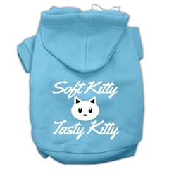Mirage Pet Products Softy Kitty, Tasty Kitty Screen Print Dog Pet Hoodies Baby Blue Size Med (12)