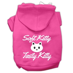 Mirage Pet Products Softy Kitty, Tasty Kitty Screen Print Dog Pet Hoodies Bright Pink Size XL (16)