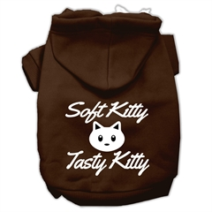 Mirage Pet Products Softy Kitty, Tasty Kitty Screen Print Dog Pet Hoodies Brown Size Lg (14)