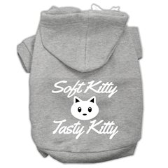 Mirage Pet Products Softy Kitty, Tasty Kitty Screen Print Dog Pet Hoodies Grey Size Lg (14)