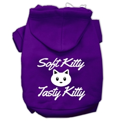 Mirage Pet Products Softy Kitty, Tasty Kitty Screen Print Dog Pet Hoodies Purple Size XL (16)