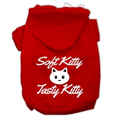 Mirage Pet Products Softy Kitty, Tasty Kitty Screen Print Dog Pet Hoodies Red Size XXXL (20)