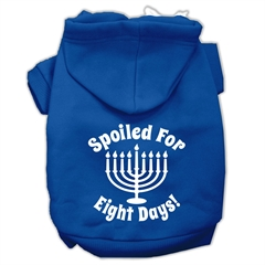 Mirage Pet Products Spoiled for 8 Days Screenprint Dog Pet Hoodies Blue Size XS (8)