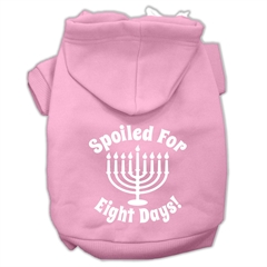 Mirage Pet Products Spoiled for 8 Days Screenprint Dog Pet Hoodies Light Pink Size Med (12)