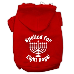 Mirage Pet Products Spoiled for 8 Days Screenprint Dog Pet Hoodies Red Size XXXL (20)