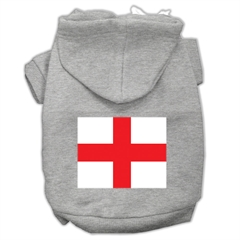 Mirage Pet Products St. George's Cross (English Flag) Screen Print Pet Hoodies Grey Size Lg (14)