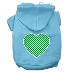 Mirage Pet Products Green Swiss Dot Heart Screen Print Pet Hoodies Baby Blue Size XS (8)